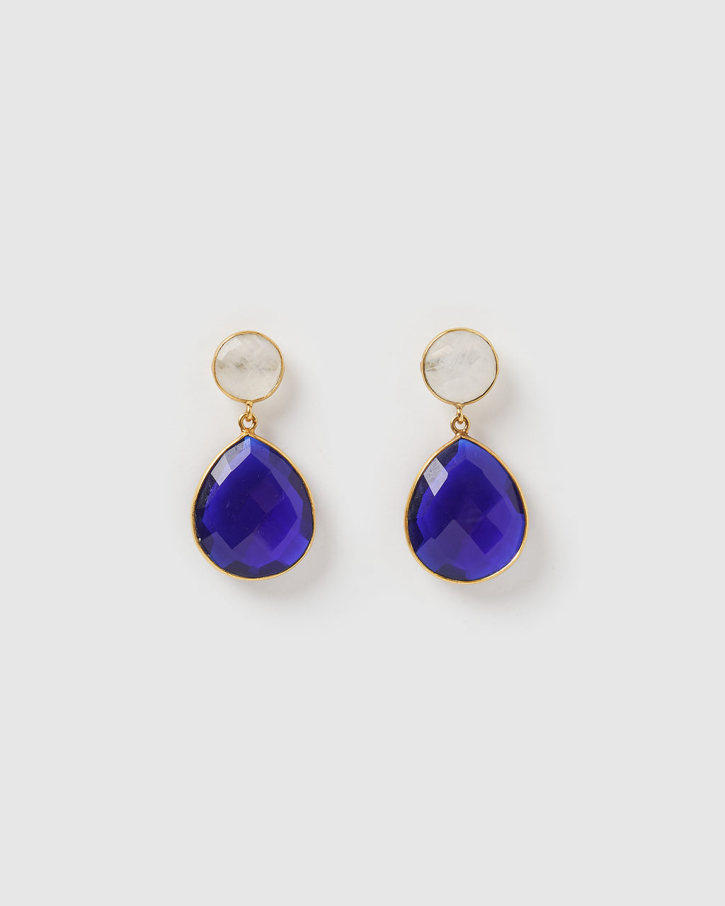 Izoa Gala Earrings Sapphire Quartz Moonstone Gold