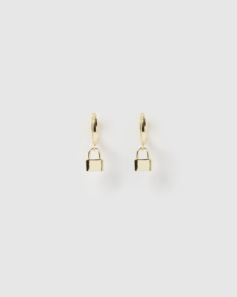 Izoa Padlock Huggie Earrings Gold
