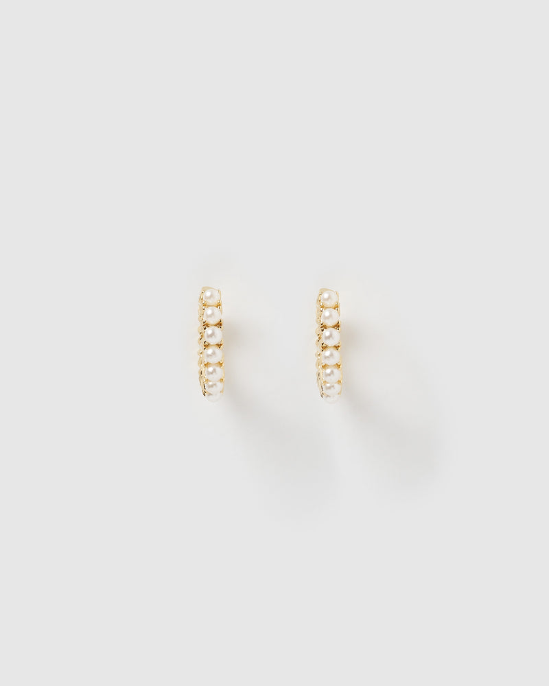 Izoa Talita Huggie Earrings Gold Pearl