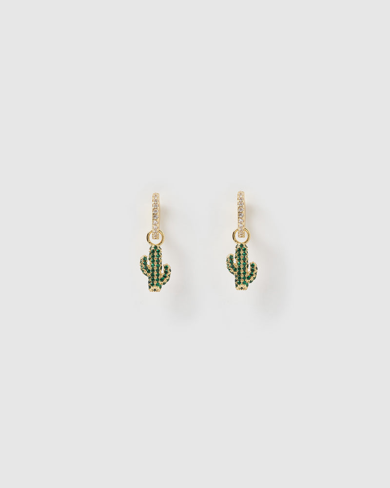 Izoa Cactus Huggie Earrings Green Gold