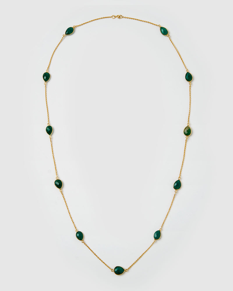 Izoa Harmonia Necklace Gold Green Onyx