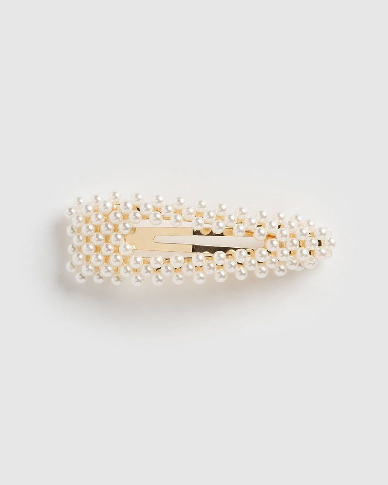Izoa Haven Hair Clip Gold Pearl
