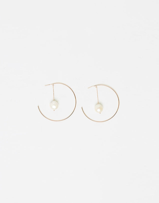 Izoa Heartbreaker Pearl Hoop Earrings Rose Gold
