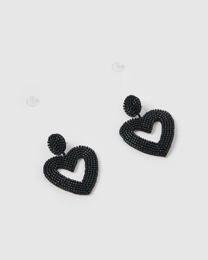 Izoa Heartfelt Earrings Black