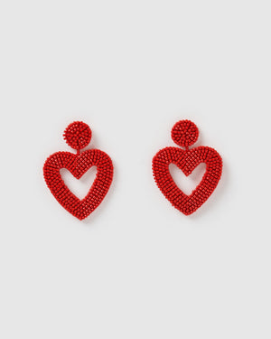 Izoa Heartfelt Earrings Red