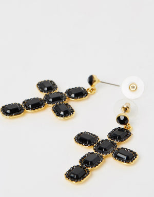Izoa Heavenly Earrings Black Gold