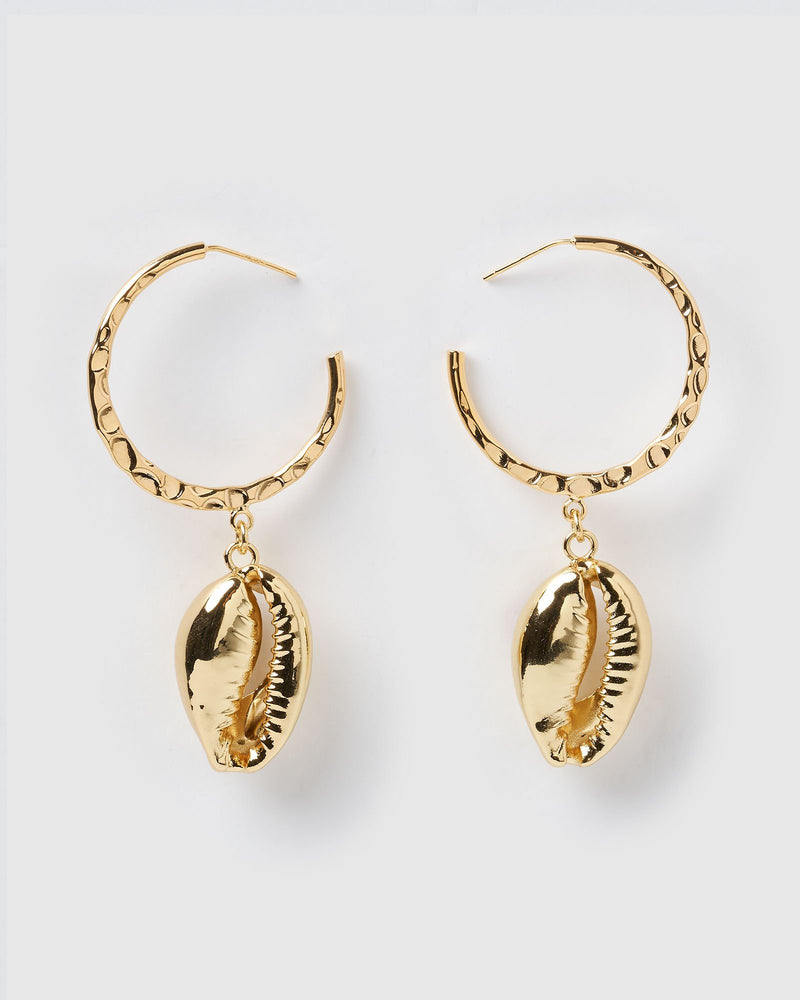 Miz Casa & Co Hula Cowrie Hoop Earrings Gold