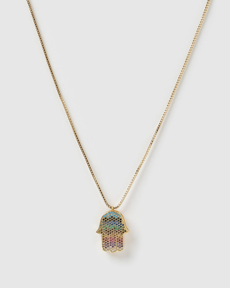 Izoa Hamsa Hand Necklace Gold Multi