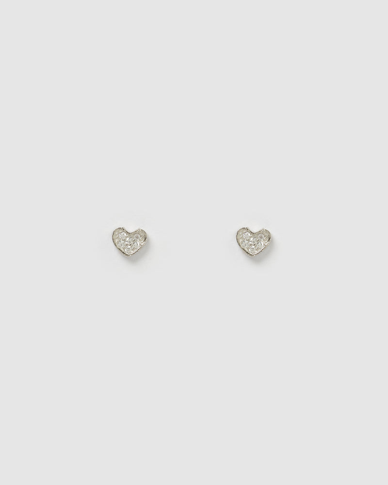 Izoa Hart Stud Earrings Silver