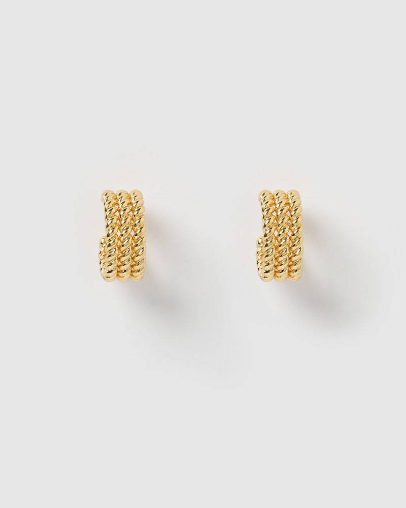 Izoa Heather Hoop Earrings Gold