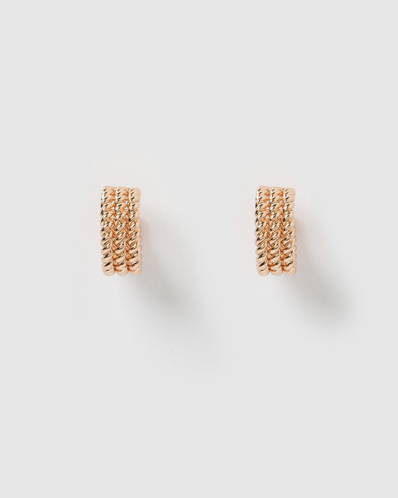 Izoa Heather Hoop Earrings Rose Gold