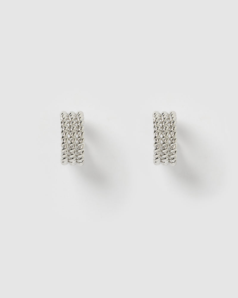 Izoa Heather Hoop Earrings Silver