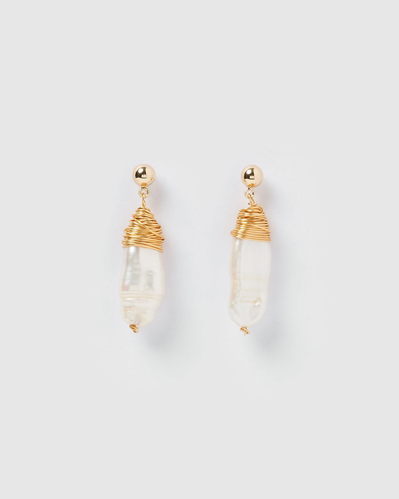 Miz Casa & Co Honey Drop Pearl Earrings Gold Pearl