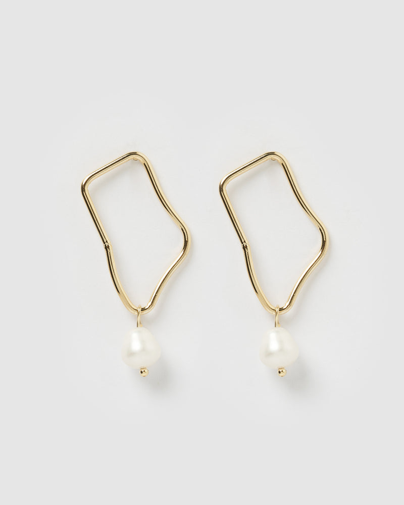 Izoa Indie Earrings Gold Freshwater Pearl