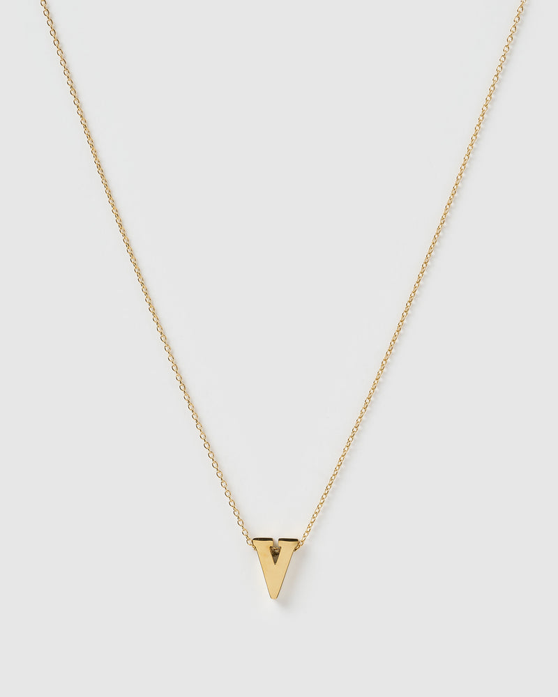 Izoa Alphabet Letter V Necklace Gold