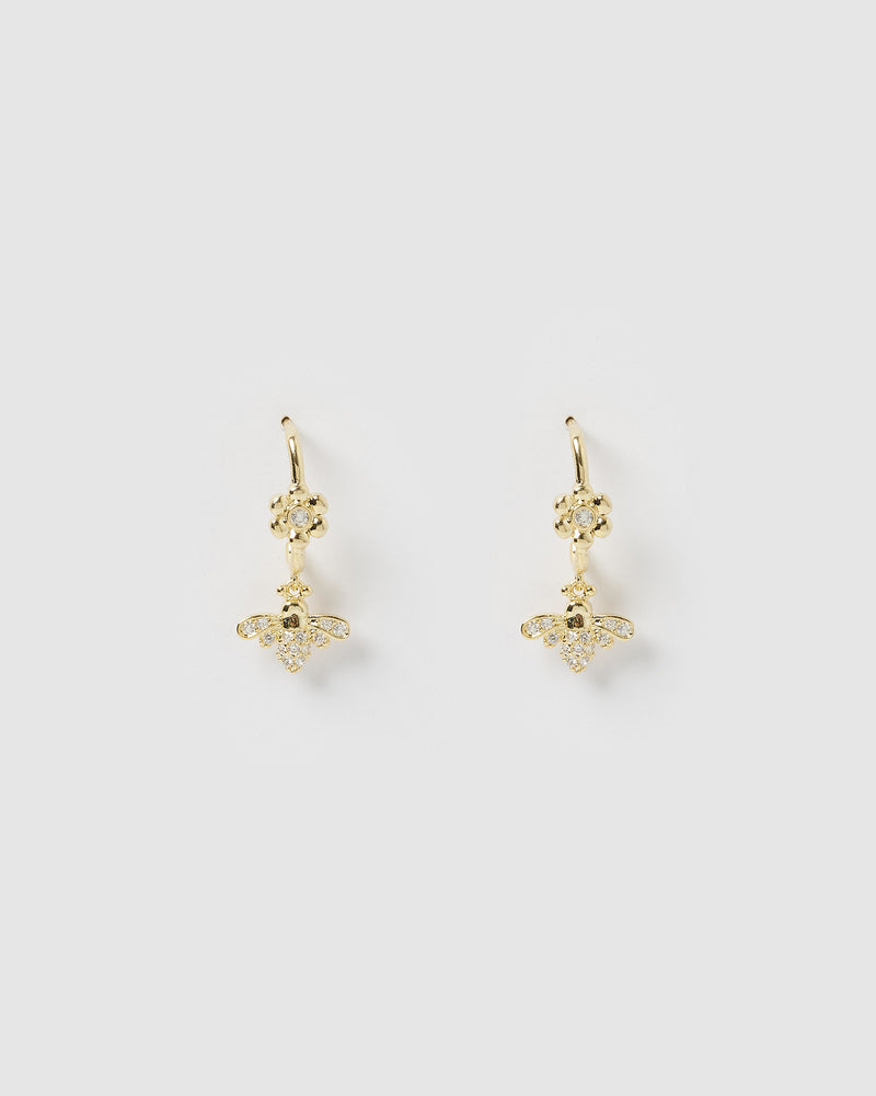 Izoa Garden Drop Stud Earrings Gold
