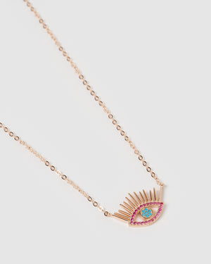 Izoa Mykonos Eye Necklace Rose Gold