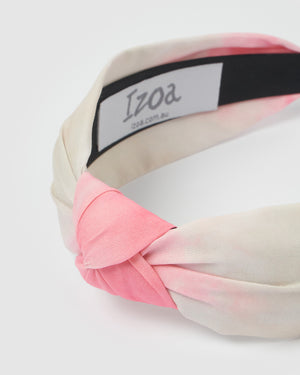 Izoa Dakota Headband Pink/Cream Tie Dye