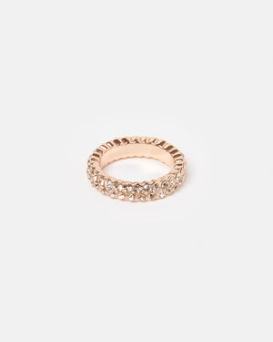 Izoa Set Of Two Crystal Rings Rose Gold & Peach