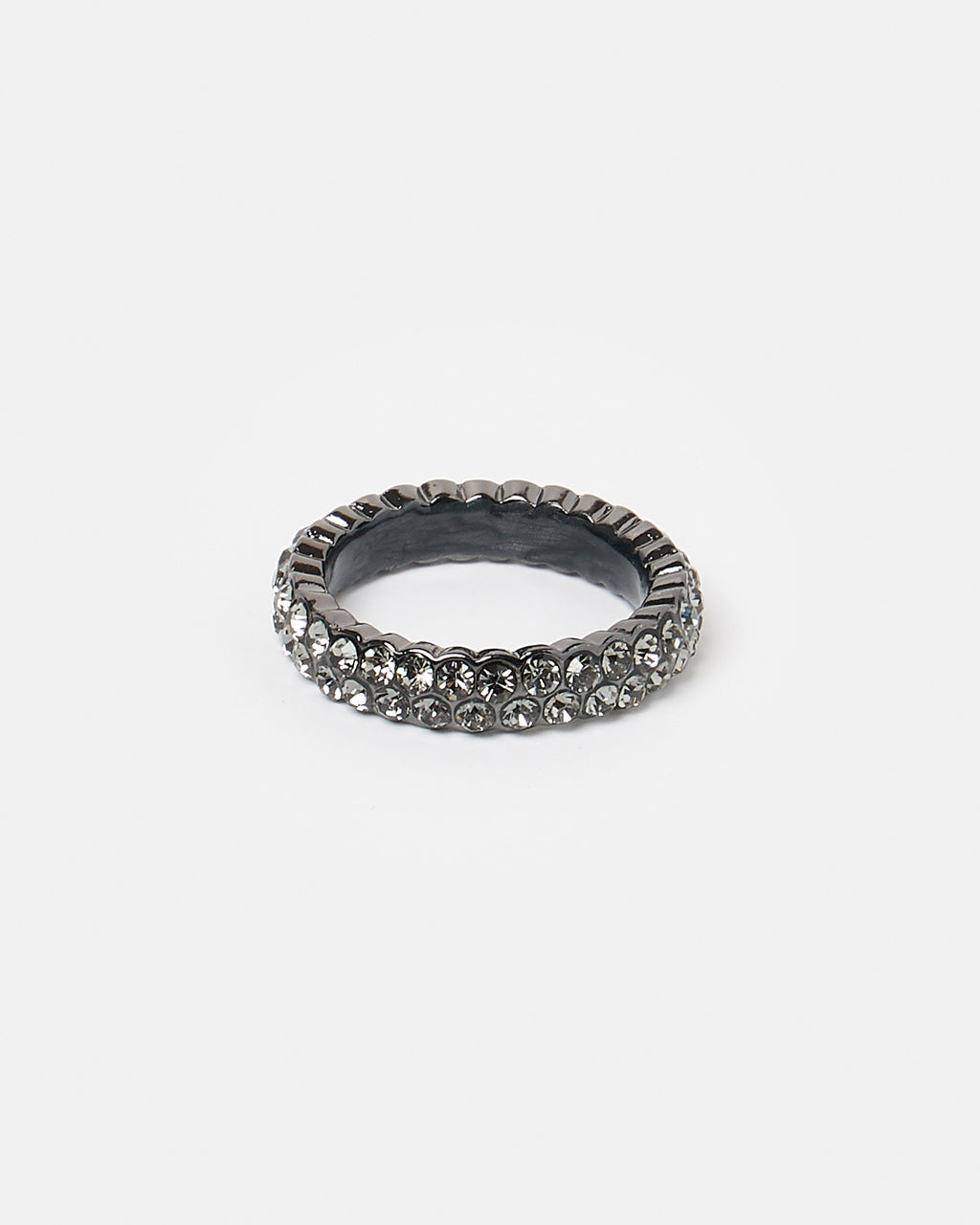 Izoa Set Of Two Crystal Rings Gunmetal