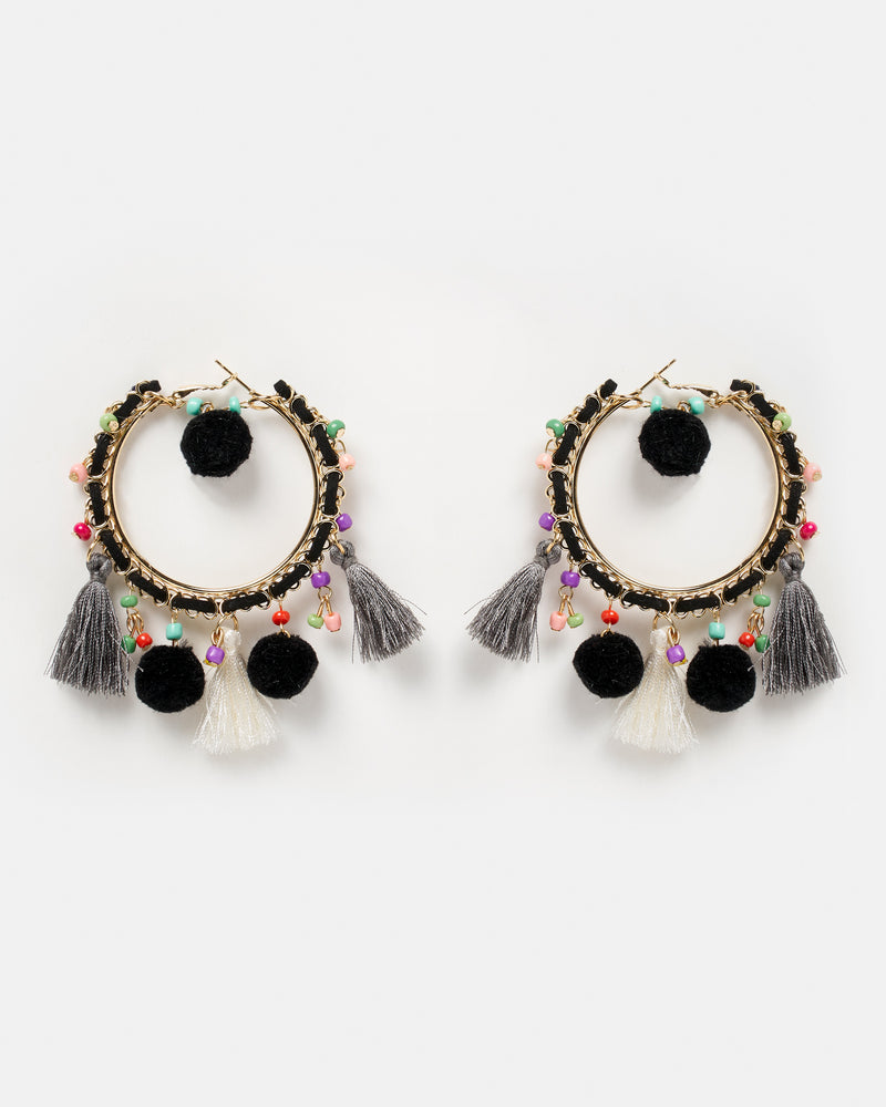 Izoa Fiesta Hoop Earrings Black