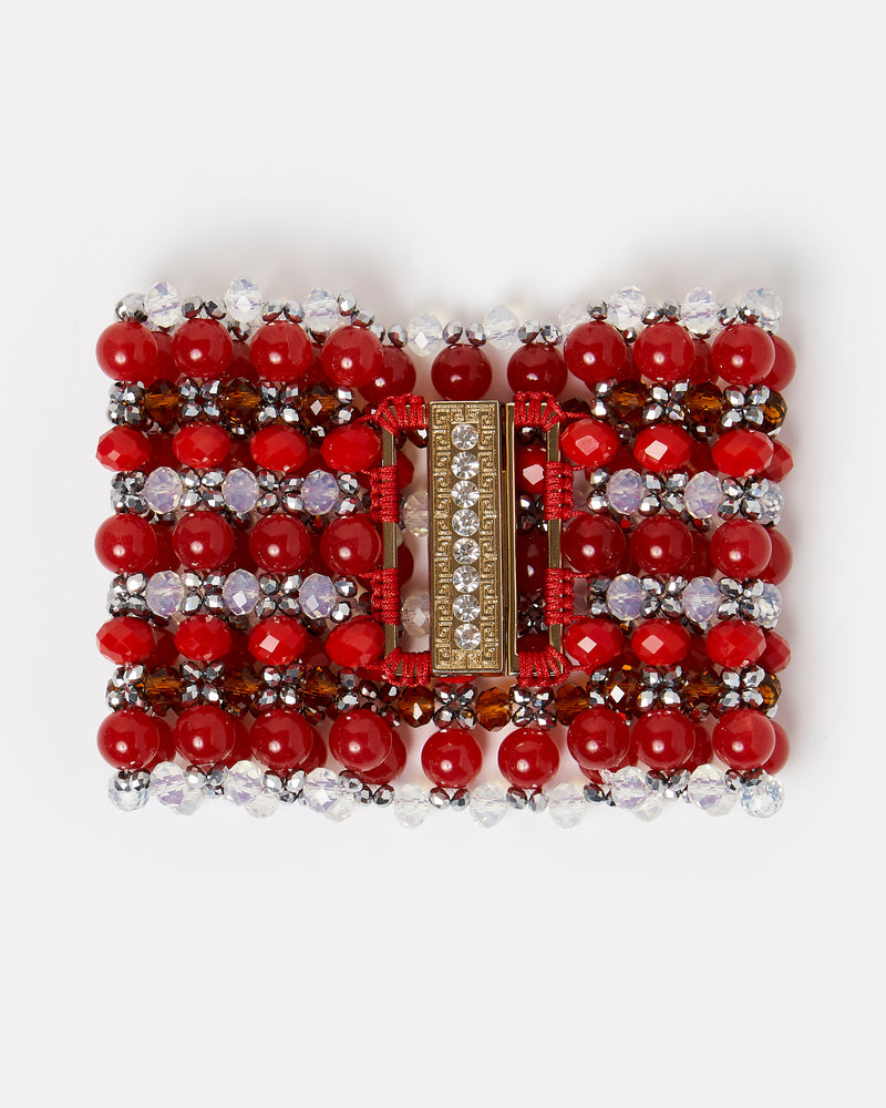 Izoa Beaded Clasp Bracelet Silver Red