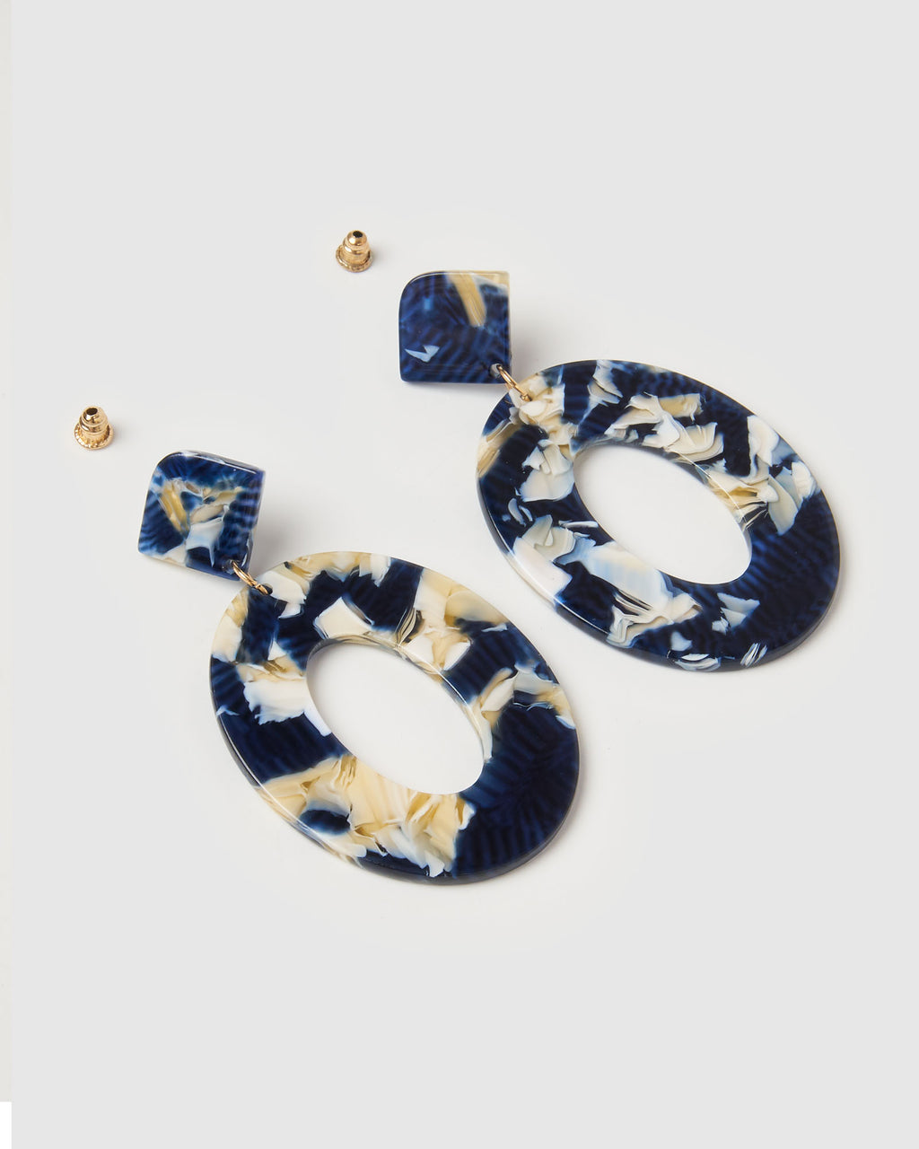 Izoa Elena Earrings Blue Speckle