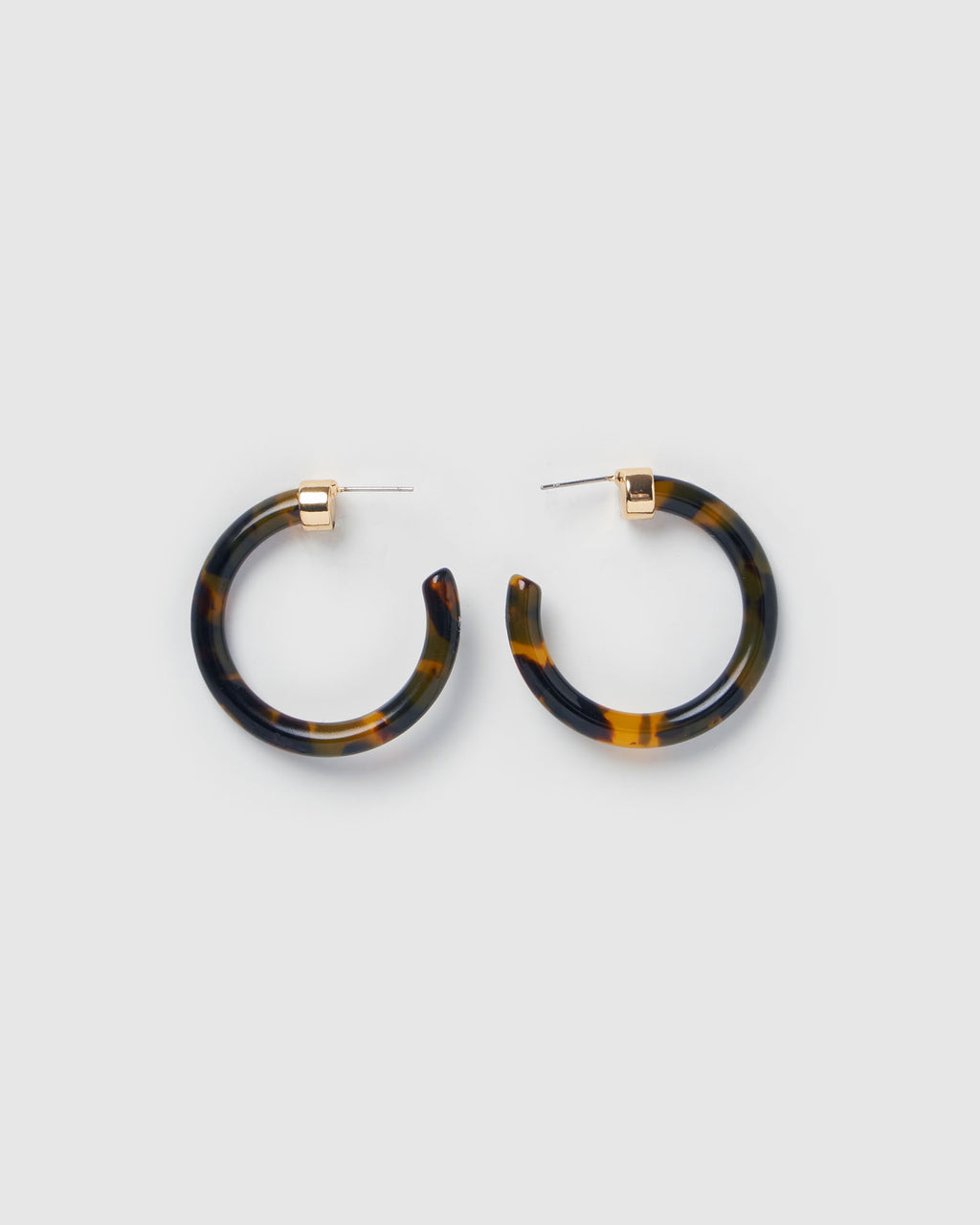 Izoa Olivia Hoop Earrings Tortoise Shell Gold