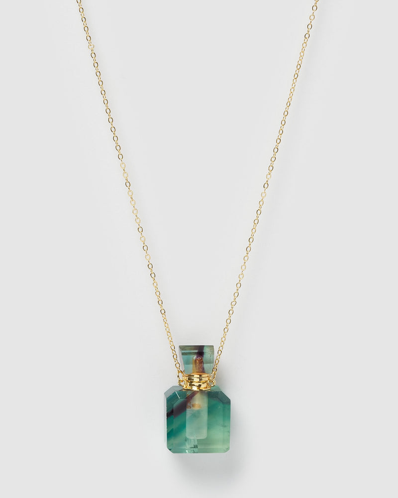 Miz Casa & Co Enchant Necklace Perfume Bottle Rainbow Fluorite