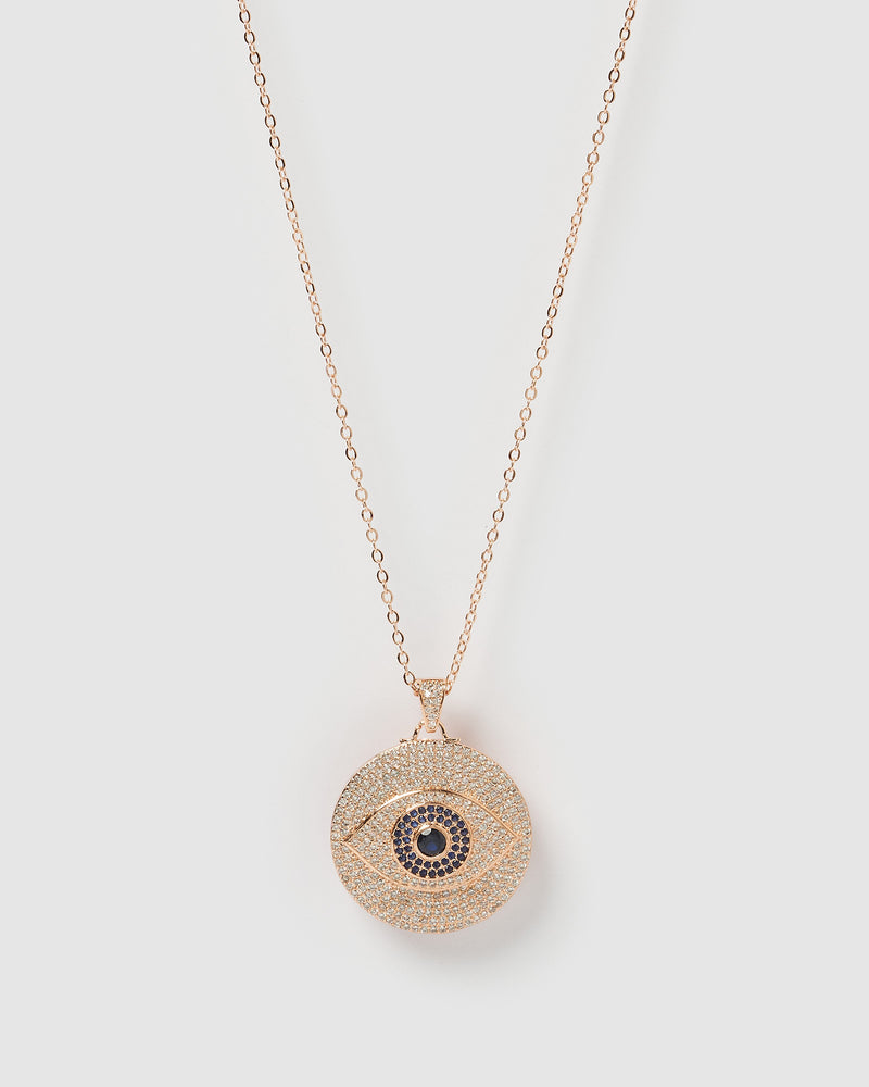 Izoa Larissa Eye Necklace Rose Gold