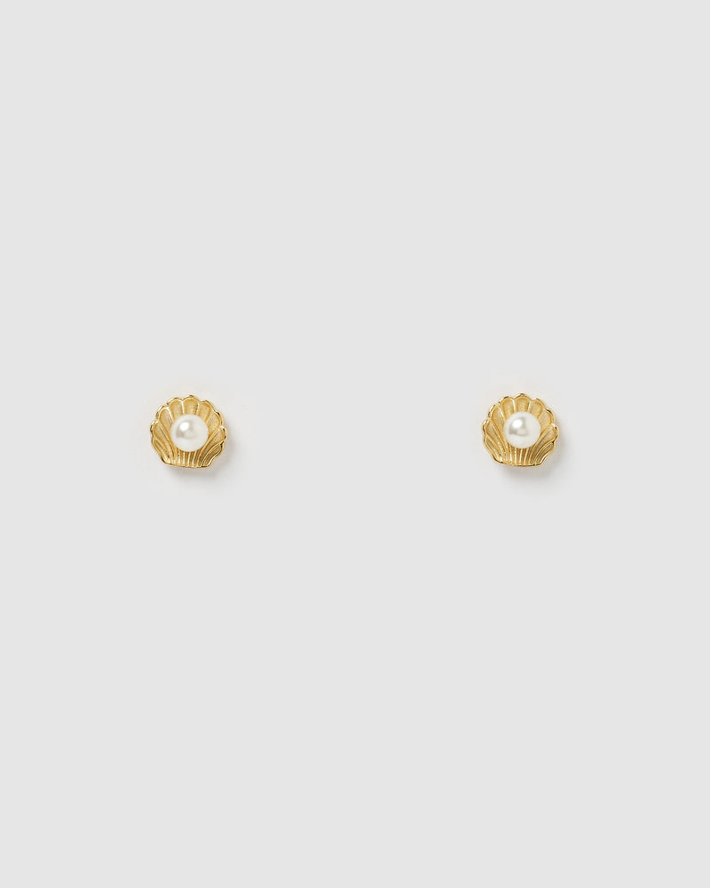 Izoa Daisy Stud Earrings in Gold Pearl