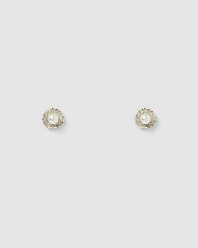 Izoa Daisy Stud Earrings in Sterling Silver Pearl