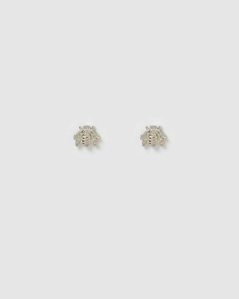 Izoa Petite Bee Stud Earrings Sterling Silver