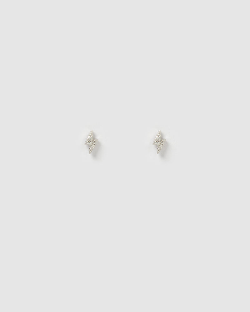 Izoa Strike Stud Earrings in Silver