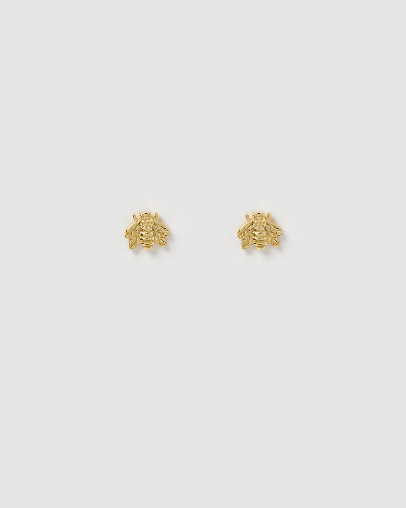 Izoa Petite Bee Stud Earrings Gold