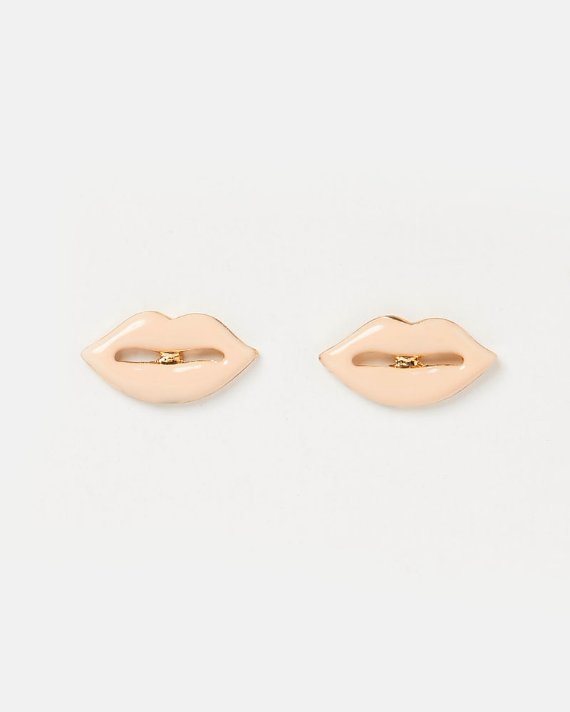 Izoa Kiss Stud Earrings Nude