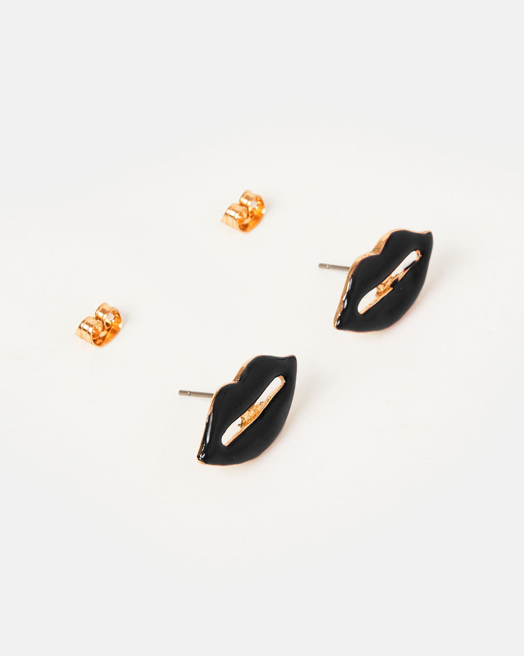 Izoa Kiss Stud Earrings Black