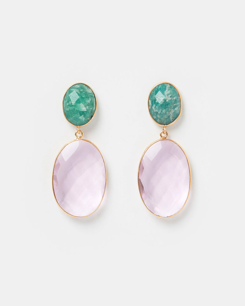 Izoa Divinity Earrings Pink Green