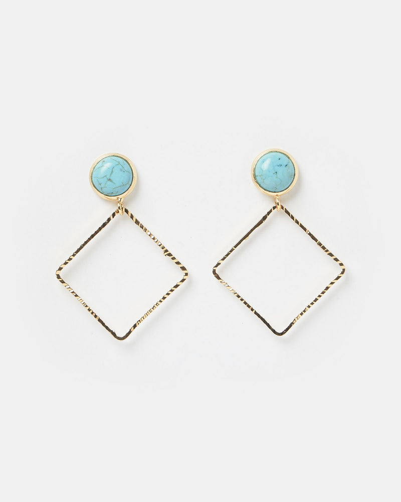 Miz Casa & Co Align Earrings Gold Turquoise
