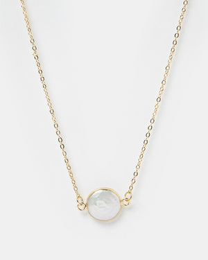 Miz Casa & Co Pearl Charm Necklace Gold
