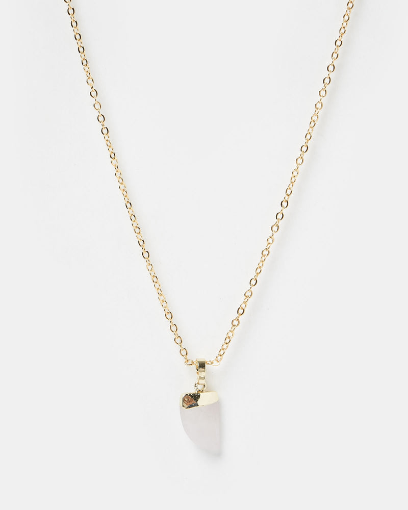 Miz Casa & Co Stone Charm Necklace Gold Pink
