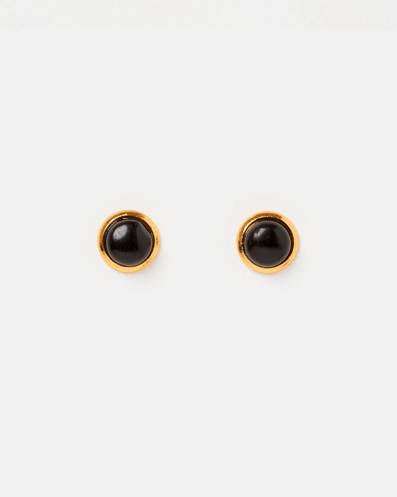 Miz Casa & Co Sunlit Stud Earrings Black Gold