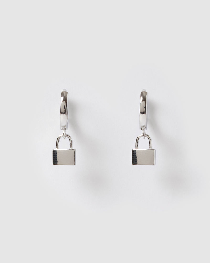 Izoa Padlock Huggie Earrings SIlver