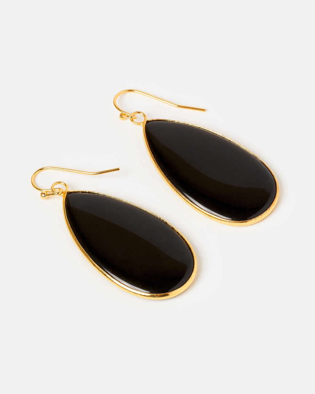 Miz Casa & Co Sea Petal Earrings Onyx Gold