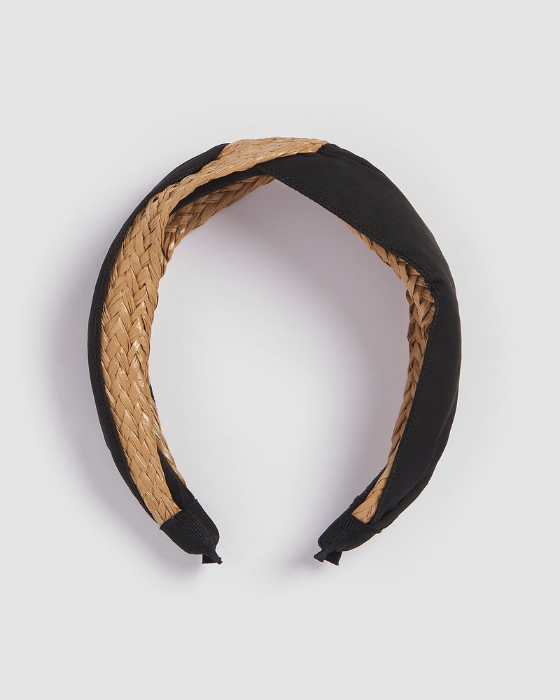 Izoa Hamilton Headband Natural Black