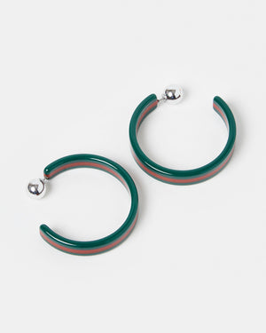 Izoa Tango Hoop Earrings Green Stripe