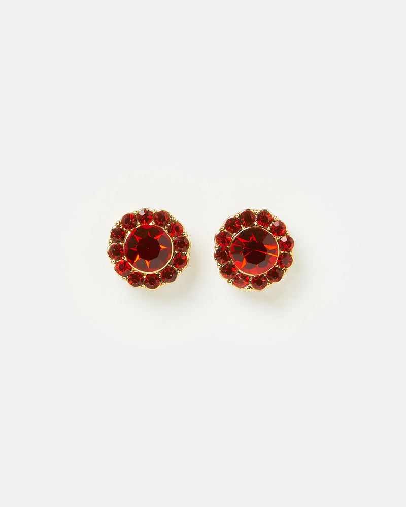Izoa Rosie Stud Earrings Gold Red