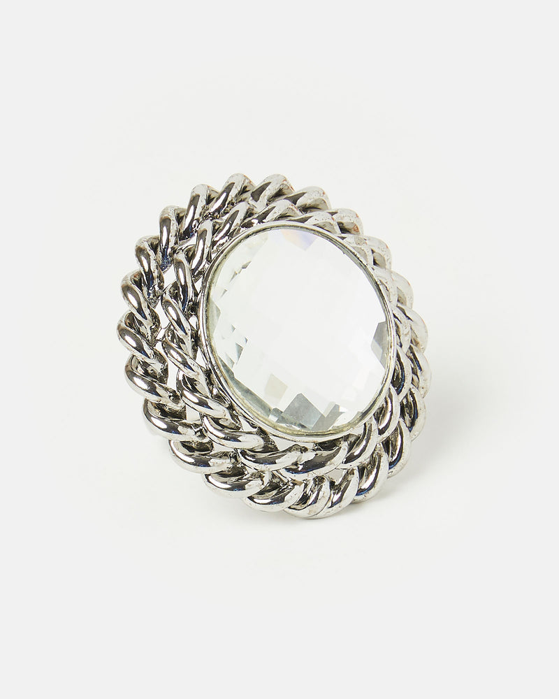Izoa Set Sail Ring Silver Clear