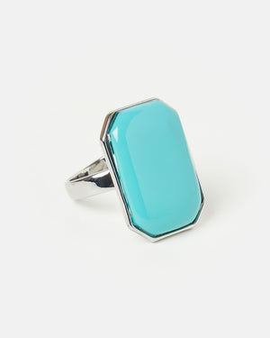Izoa Rectangle Stone Ring Silver Blue