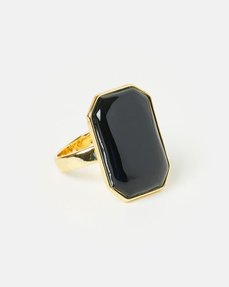 Izoa Rectangle Stone Ring Gold Black